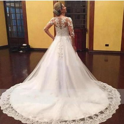 Vintage Full Lace 2018 Wedding Dres..