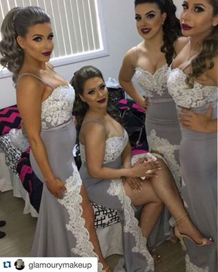 Grey Sheath Bridesmaid Dresses Spaghetti Straps Appliques Prom Dress Party Gowns Formal Dresses