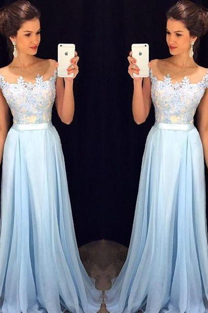 Cap Sleeves 2017 A-line Floor Length Sky Blue Chiffon Lace Elegant Long Evening Dresses Evening Gown Prom Dresses Prom Gown