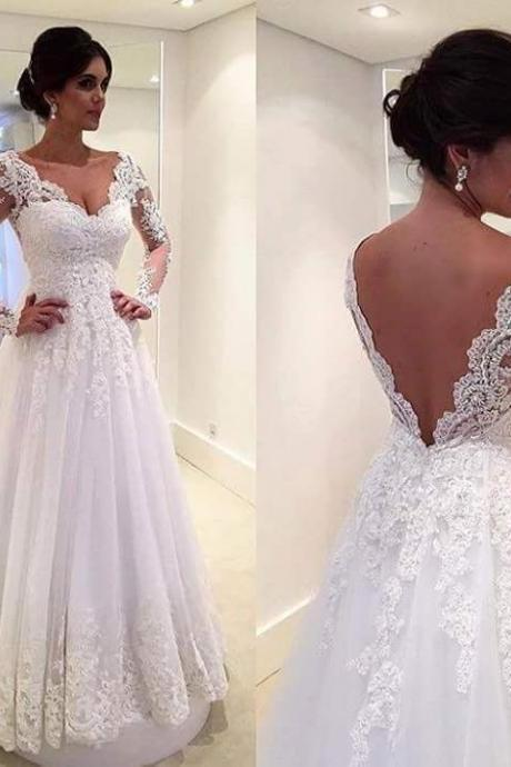 Beach Wedding Dresses A-line Deep V-neck Tulle Lace Backless Vintage Wedding Gown Bridal Dress Bridal Gown Vestido De Noiva