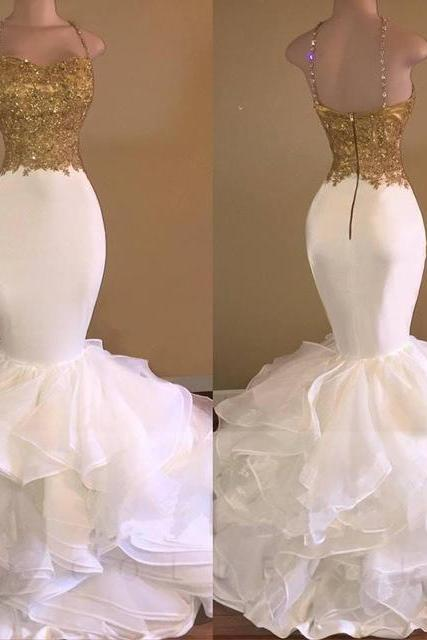 White and Gold Prom Dresses Mermaid Spaghetti Strap Appliques Lace Ruffles Organza Backless Long Evening Gowns