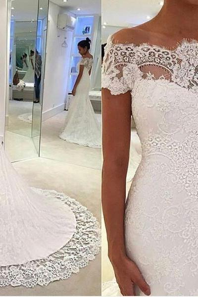 Off-the-Shoulder Lace Mermaid Wedding Dress with Sweep Train
