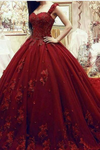 New Arrival Elegant Burgundy Ball Gown Latest Wedding Dresses Appliques Lace Puffy Tulle Bridal Gowns