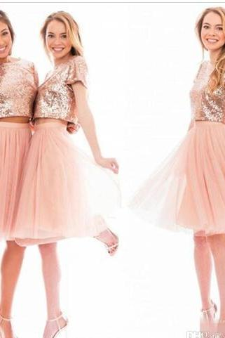 Sparkly Blush Pink Rose Gold Sequins Bridesmaid Dresses Beach Cheap Short Sleeve Plus Size Junior Two Pieces Prom Party Dresses