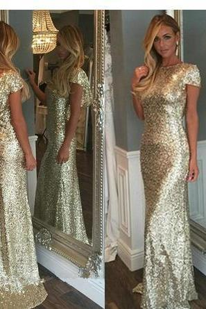 Champagne Gold Sequins Long Bridesmaid Dresses 2018 Sparkly High Neck Short Sleeve Backless Wedding Party Gowns Maid of Honor Dresses Junior