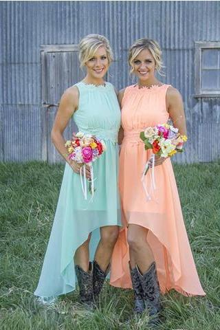 Cheap Country Style High Low Coral Mint Bridesmaid Dresses Maid of Honor Dress Lace Chiffon Bridal Party Gowns