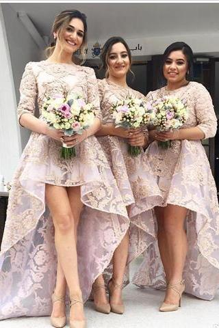 New Fashion Bridesmaid Dresses Hi-lo Jewel Neck Half Sleeves Bridesmaids Girl's Dress For Weddings Lace Applique Bridesmaid Formal Gowns