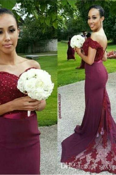 Off Shoulder Burgundy Nigerian Wedding Bridesmaid Dresses 2017 Lace Mermaid Sheer Sweep Train Mermaid Bridesmaid Gowns Custom Made