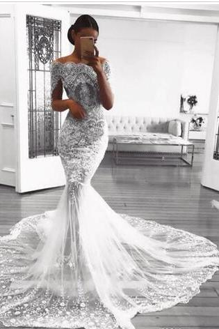 Retro Lace Mermaid Wedding Dresses Appliques Beads Tulle See Through Bridal Gowns Floor Length Short Sleeves Wedding Vestidos Custom Made