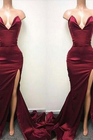 Sexy Simple Cheap Long Prom Dresses Burgundy 2018 Sweetheart Split Side Elastic Satin Long Custom Made Evening Gowns
