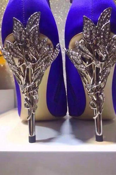 2017 Royal Blue Winter Wedding Shoes Silk Bridal Heels Shoes for Evening Party Prom Shoes