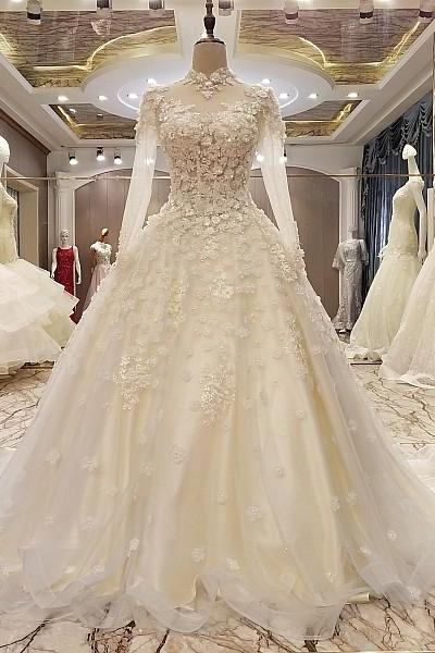 Custom Made White High Neckline Lace Long Sleeve Tulle Ball Gown Wedding Dress, Prom Dresses, Evening Wear