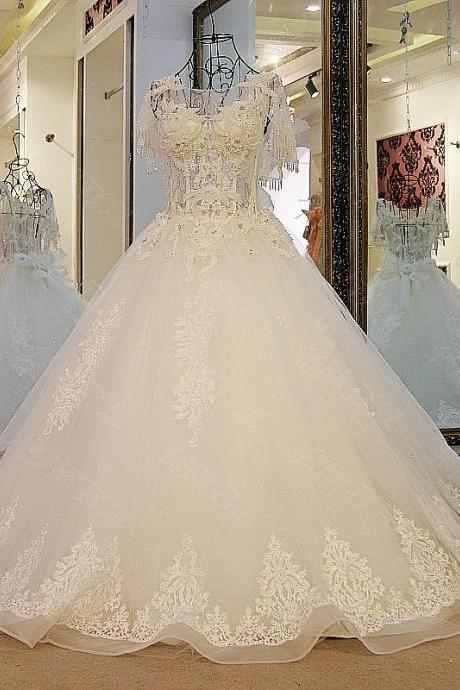 Luxury Ball Gown Wedding Dresses Short Sleeve Lace Beading Crystals Bow Lace Up Bridal Gowns