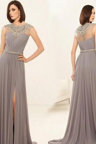 Gray Sleeveless Beaded Neckline Groom Mother Dresses Long Slit Side A-Line Chiffon Mother Of The Bride Dresses