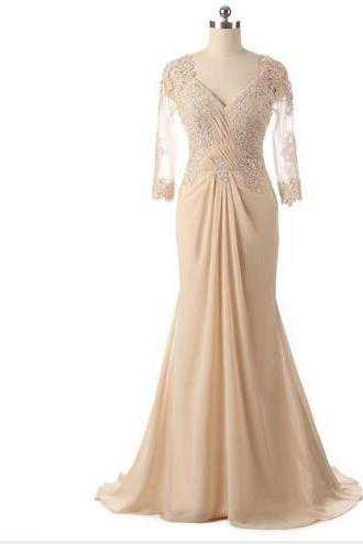 Long Floor Length Mother of the Bride Dresses with Full Sleeves Vestido De Festa Prom Party Gowns 2017 Hot Sale Champagne