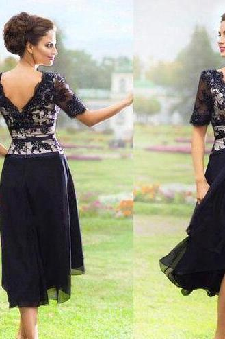 Navy Blue Chiffon Lace Knee-length Mother Of the Bride Dresses 2018 Summer Beach Wedding Party Dress Half Sleeve Plus Size Cheap Gown