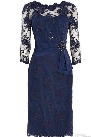 Royal Blue Lace Short Mother Of The Bride Dress Jewel Neck Three Quarter Knee Length Mother Of The Bride Dresses For Wedding