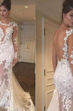 2018 See Through Beach Mermaid Wedding Dress With Long Sleeves Lace Appliques Backless Bridal Gowns Floor Length Vestido de Noiva