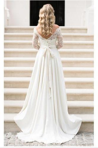 Off-the-Shoulder Lace A-line Chiffon Long Wedding Dress with 3/4 Sleeves