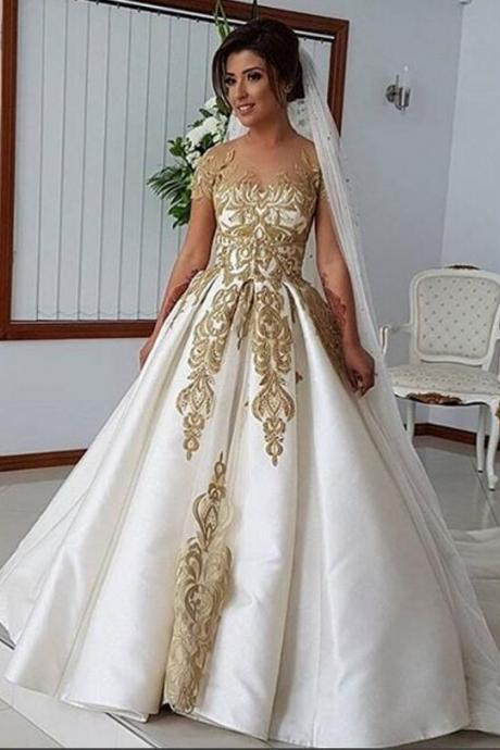 Luxurious Two Pieces 2018 Arabic Wedding Dresses Sheer Neck Short Sleeves Ball Gown Bridal Dresses Princess Satin Wedding Gowns