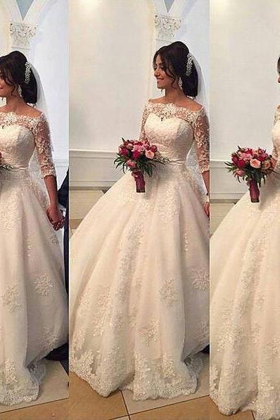 Beaded Lace Wedding Dresses Bateau Half Sleeves Ball Gown Bridal Dresses Princess Wedding Gowns