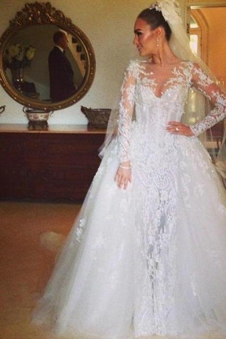 Sheer Neck Long Sleeves Lace Beaded Wedding Dresses Ball Gown Sweep Train Tulle Wedding Dress