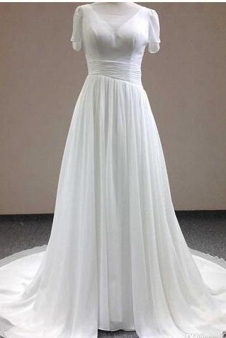 V-Neck Chiffon A-line Wedding Dress with Short Sleeves