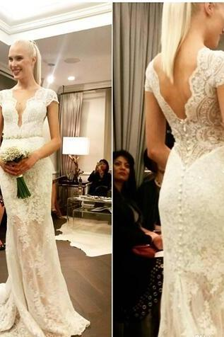 Deep Plunge Wedding Dresses Lace Cap Sleeves Sexy V-neck Bridal Gowns Mermaid Garden Reception Dress For Brides Robe De Mariee Courte