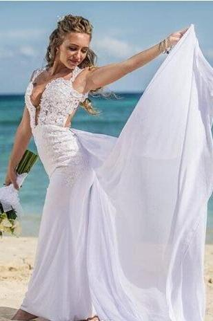 Beach Wedding Dresses Gowns Chiffon Appliques Lace Deep V Neck Sexy Bridal Gown Mermaid Straps Over Skirt Summer Dress