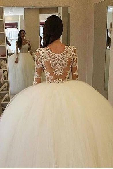 Ball Gown Tulle Wedding Dresses Sheer Long Sleeve Lace Bodice Puffy Bridal Gowns