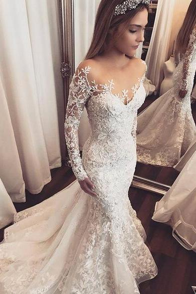 Mermaid Tulle Wedding Dresses Sheer Long Sleeve Lace Appliques Gorgeous 2018 Bridal Gowns