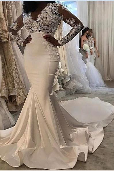 Mermaid Satin Wedding Dresses Scoop Sheer Long Sleeve Lace Gorgeous 2018 Bridal Gowns