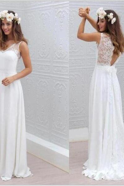 Chiffon Lace Simple Beach Cheap Open Back Beautiful Wedding Dresses