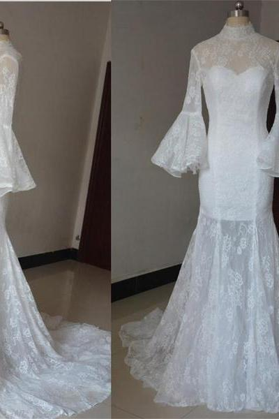 High Neck Sheer Lace Mermaid Wedding Dress with Long Flared Sleeves