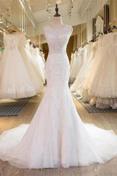 Sleeveless Sheer Beaded Mermaid Wedding Dress