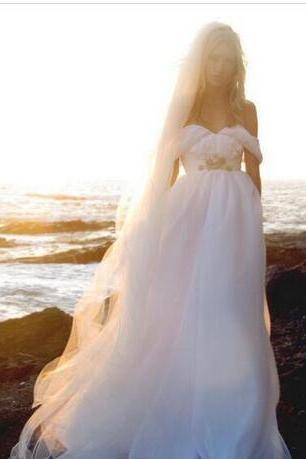 Off-the-Shoulder Beaded Chiffon A-line Wedding Dress, Boho and Beach Wedding Dress