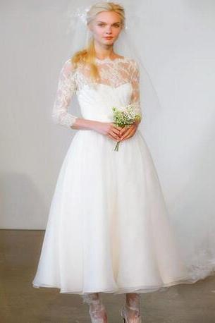 Sheer Lace Appliqués Ankle-Length Wedding Dress with 3/4 Sleeves