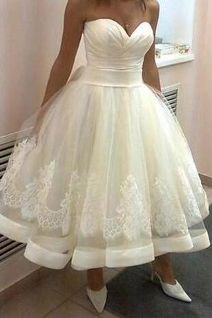 2018 Beach Tea Length Wedding Dresses Sweetheart A Line Lace Up vestido de noiva