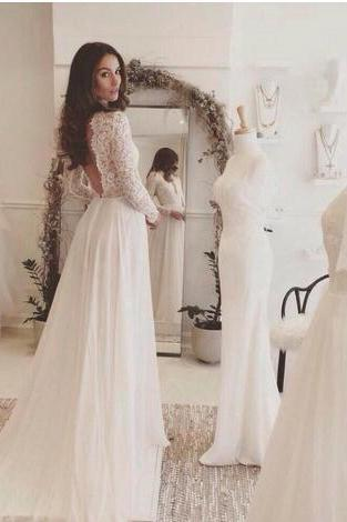 New Arrival Beach Lace Chiffon Wedding Dresses 2018 Long Sleeves Rustic Backless Wedding Dress Bridal Gowns Vestidos de Noivas