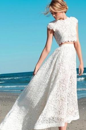 Custom Made Summer 2018 Sexy Two Pieces Bohemian Wedding Dresses Lace Crop Top Vintage High Low Boho Beach Bridal Gowns