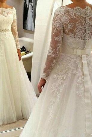 Plus Size Full Lace Wedding Dress A-line Bateau Long Sleeves Chiffon A-line with Beaded Belt Appliques Bridal Gown