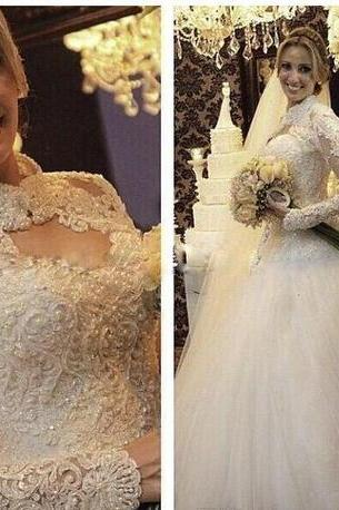 Wedding Dresses Lace Princess Ball Gown Bridal Gowns With Sweetheart Neck Long Sleeves