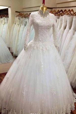 New Long Sleeve High Necks 2018 Wedding Dressea Tulle Applique and Lace Beaded Wedding Dress