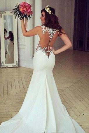 2018 New Mermaid Style Winter Lace Appluqes Wedding Dresses Crew Trumpet Backless Sweep Train Custom Made Bridal Gowns