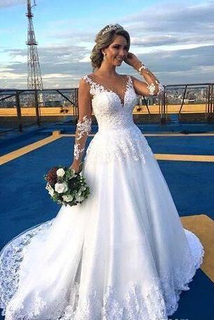 Vintage Country Full Lace Wedding Dresses 2018 Jewel Neck Sheer Long Sleeves Chapel Train Appliqued Backless Church Garden Bridal Gowns