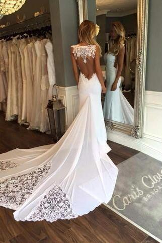 2018 New Sleeveless Mermaid Sheath Formal Wedding Dresses Backless Applique Lace Backless Bridal Gowns Custom Size