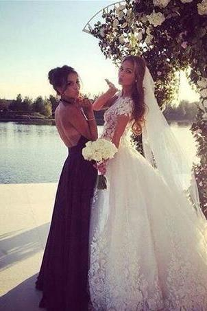 Custom Made Romantic Vintage Lace A Line Wedding Dresses 2018 Sheer V Neck Cap Sleeve Tiers Tulle Vestido De Novia Bridal Gowns
