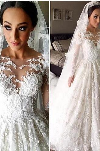 Luxury Long Sleeves Wedding Dresses 2018 Wedding Gowns Sheer Crew Neck Fashionable Bridal Dresses