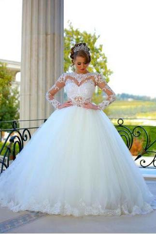 Ball Gown Wedding Dresses Lace Appliqued High Neck Sheer Long Sleeves with Sashes Sweep Train Lace-up Bridal Occasions