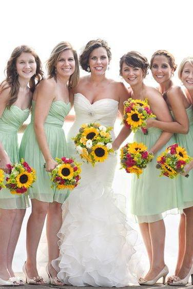 Custom Made Mint Green Strapless Chiffon Short Bridesmaid Dress
